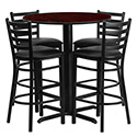 Flash Furniture HDBF1022-GG 30'' Round Mahogany Laminate Table Set with 4 Ladder Back Metal Bar Stools - Black Vinyl Seat