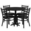 Flash Furniture HDBF1029-GG 36'' Round Black Laminate Table Set with 4 Ladder Back Metal Chairs - Black Vinyl Seat