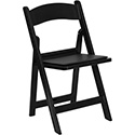 Flash Furniture Hercules Black Resin Folding Chair w/Vinyl Padded Seat