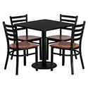 Flash Furniture MD-0003-GG 30'' Square Black Laminate Table Set with 4 Ladder Back Metal Chairs - Cherry Wood Seat