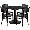 Flash Furniture MD-0008-GG 36'' Square Black Laminate Table Set with 4 Grid Back Metal Chairs - Mahogany Wood Seat