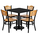 Combo Deal - 30'' Square Black Laminate Table Set with 4 Wood Slat Back Metal Chairs - Natural Wood Seat