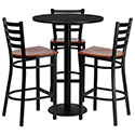 Flash Furniture MD-0013-GG 30'' Round Black Laminate Table Set with 3 Ladder Back Metal Bar Stools - Cherry Wood Seat
