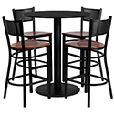 Flash Furniture MD-0018-GG 36'' Round Black Laminate Table Set with 4 Grid Back Metal Bar Stools - Cherry Wood Seat