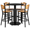 Combo Deal - 36'' Round Black Laminate Table Set with 4 Wood Slat Back Metal Bar Stools - Natural Wood Seat