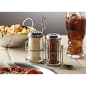 American Metalcraft MGLCS Shaker Glass Jar Set W/Caddy, Cheese, & Spice Shakers