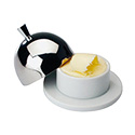 """Matfer 062588 Butter Dish, 3-1/2"""" Dia. X 2-3/4""""H, With Polished Lid, Porcelain"""