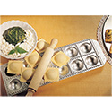 "Matfer 073194 Imperia Ravioli Mold, 13-2/3""L X 5-1/2""W, Makes (12) 2"" X 2"" Domed Squares, Includes Wooden Rolling Pin"