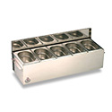 "Matfer 511510 Condibox, 23""L X 8""W X 5-1/2""H, Includes: 5 Stainless Steel Gn 1/9 Containers, 2 Cooling Blocks"