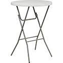"Flash Furniture RB-32RB-BAR-GW-GG 32"" Round Granite White Plastic Bar Height Folding Table"