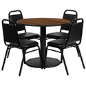 Flash Furniture RSRB1004-GG 36'' Round Walnut Laminate Table Set with 4 Black Trapezoidal Back Banquet Chairs