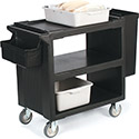 "Carlisle SBC23003 Service Cart with 2 Fixed Casters, 2 Swivel Casters, 1 w/Brake 33"" x 20"""