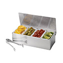 """Tablecraft H1604 Bar Caddy With 4 Compartments, Includes: Holder, Inserts, Tongs, 4"""" X 6"""" X 12 3/8"""""""