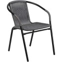 Flash Furniture TLH-037-GY-GG Gray Rattan Indoor-Outdoor Restaurant Stack Chair