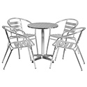 Flash Furniture TLH-ALUM-24RD-017BCHR4-GG 23.5'' Round Aluminum Indoor-Outdoor Table with 4 Slat Back Chairs