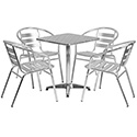 Flash Furniture TLH-ALUM-24SQ-017BCHR4-GG 23.5'' Square Aluminum Indoor-Outdoor Table with 4 Slat Back Chairs