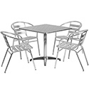 Flash Furniture TLH-ALUM-32SQ-017BCHR4-GG 31.5'' Square Aluminum Indoor-Outdoor Table with 4 Slat Back Chairs