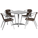 Flash Furniture TLH-ALUM-32SQ-020CHR4-GG 31.5'' Square Aluminum Indoor-Outdoor Table with 4 Rattan Chairs