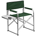 Aluminum Folding Camping Chair with Table and Drink Holder in Green