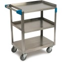 "Carlisle UC3031524 3 Shelf Stainless Steel Utility Cart 300 lb Capacity 15.5 x 24""W"