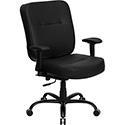 HERCULES Series 400 lb. Capacity Big & Tall Black Leather Executive Swivel Office Chair with Extra WIDE Seat and Height Adjustable Arms