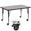 Flash Furniture XU-A2448-REC-GY-T-P-CAS-GG Mobile 24''W x 48''L Rectangular Activity Table with Grey Thermal Fused Laminate Top and Height Adjustable Pre-School Legs