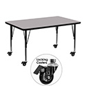 Flash Furniture XU-A3048-REC-GY-T-P-CAS-GG Mobile 30''W x 48''L Rectangular Activity Table with Grey Thermal Fused Laminate Top and Height Adjustable Pre-School Legs