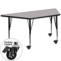 Flash Furniture XU-A3060-TRAP-GY-T-P-CAS-GG Mobile 30''W x 60''L Trapezoid Activity Table with Grey Thermal Fused Laminate Top and Height Adjustable Pre-School Legs