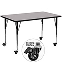 Flash Furniture XU-A3072-REC-GY-T-A-CAS-GG Mobile 30''W x 72''L Rectangular Activity Table with Grey Thermal Fused Laminate Top and Standard Height Adjustable Legs