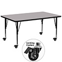 Flash Furniture XU-A3072-REC-GY-T-P-CAS-GG Mobile 30''W x 72''L Rectangular Activity Table with Grey Thermal Fused Laminate Top and Height Adjustable Pre-School Legs