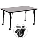 Flash Furniture XU-A3672-REC-GY-T-P-CAS-GG Mobile 36''W x 72''L Rectangular Activity Table with Grey Thermal Fused Laminate Top and Height Adjustable Pre-School Legs