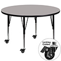 Flash Furniture XU-A48-RND-GY-H-P-CAS-GG Mobile 48'' Round Activity Table with 1.25'' Thick High Pressure Grey Laminate Top and Height Adjustable Pre-School Legs