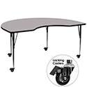 Flash Furniture XU-A4872-KIDNY-GY-T-A-CAS-GG Mobile 48''W x 72''L Kidney Shaped Activity Table with Grey Thermal Fused Laminate Top and Standard Height Adjustable Legs