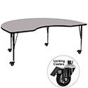 Flash Furniture XU-A4896-KIDNY-GY-T-P-CAS-GG Mobile 48''W x 96''L Kidney Shaped Activity Table with Grey Thermal Fused Laminate Top and Height Adjustable Pre-School Legs