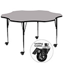 Flash Furniture XU-A60-FLR-GY-T-A-CAS-GG Mobile 60'' Flower Shaped Activity Table with Grey Thermal Fused Laminate Top and Standard Height Adjustable Legs