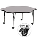 Flash Furniture XU-A60-FLR-GY-T-P-CAS-GG Mobile 60'' Flower Shaped Activity Table with Grey Thermal Fused Laminate Top and Height Adjustable Pre-School Legs