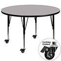 Flash Furniture XU-A60-RND-GY-T-P-CAS-GG Mobile 60'' Round Activity Table with Grey Thermal Fused Laminate Top and Height Adjustable Pre-School Legs