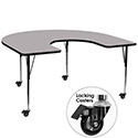 Flash Furniture XU-A6066-HRSE-GY-T-A-CAS-GG Mobile 60''W x 66''L Horseshoe Activity Table with Grey Thermal Fused Laminate Top and Standard Height Adjustable Legs