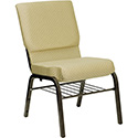 Flash Furniture Hercules Beige Church Chair w/Book Rack, Gold Frame