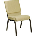 Flash Furniture Hercules Wide Beige Fabric Church Chair w/Gold Frame