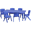 Flash Furniture YU-YCX-0013-2-RECT-TBL-BLUE-E-GG 24''W x 48''L Adjustable Rectangular Blue Plastic Activity Table Set with 6 School Stack Chairs