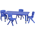 Flash Furniture YU-YCX-0013-2-RECT-TBL-BLUE-R-GG 24''W x 48''L Adjustable Rectangular Blue Plastic Activity Table Set with 4 School Stack Chairs