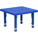 Flash Furniture YU-YCX-002-2-SQR-TBL-BLUE-GG 24'' Square Height Adjustable Blue Plastic Activity Table