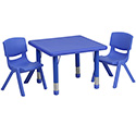 Flash Furniture YU-YCX-0023-2-SQR-TBL-BLUE-R-GG 24'' Square Adjustable Blue Plastic Activity Table Set with 2 School Stack Chairs