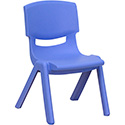 Flash Furniture YU-YCX-003-BLUE-GG Blue Plastic Stackable School Chair with 10.5'' Seat Height