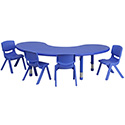 Flash Furniture YU-YCX-0043-2-MOON-TBL-BLUE-E-GG 35''W x 65''L Adjustable Half-Moon Blue Plastic Activity Table Set with 4 School Stack Chairs