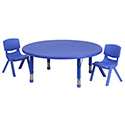 Flash Furniture YU-YCX-0053-2-ROUND-TBL-BLUE-R-GG 45'' Round Adjustable Blue Plastic Activity Table Set with 2 School Stack Chairs