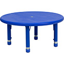 Flash Furniture YU-YCX-007-2-ROUND-TBL-BLUE-GG 33'' Round Height Adjustable Blue Plastic Activity Table