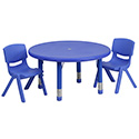 Flash Furniture YU-YCX-0073-2-ROUND-TBL-BLUE-R-GG 33'' Round Adjustable Blue Plastic Activity Table Set with 2 School Stack Chairs