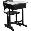 Flash Furniture YU-YCX-046-09010-GG Adjustable Height Student Desk and Chair with Black Pedestal Frame